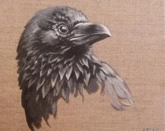 Original Bird Painting, Raven (2016)