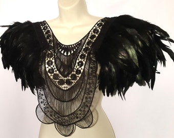 Black feather epaulettes. Black oversized tribal collar top with huge iridescent feather epaulettes. Burning Man. 'Mystic'