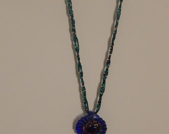 Blue leaf pendant necklace
