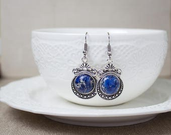 blue stone earrings, jasper earrings, victorian earrings, blue jasper, antique earrings, vintage earrings, silver earrings, gift for her