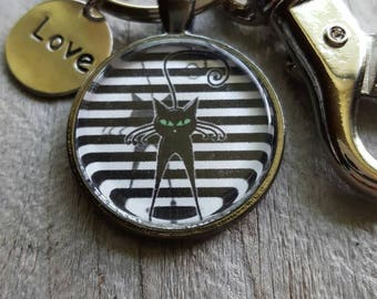 Black and White Striped Cat Pendant Key Chain - Cat Lover Gift, Pet Lover, Cat Theme