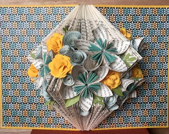Don't Eat the Daisies Hanging Book Art Sculpture - Wall Art - Repurposed Home Decor - Book Art - Paper Flowers - Folded Book - Upcycled