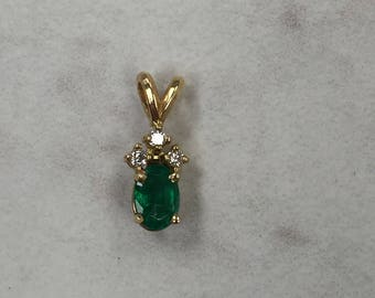 14kt Yellow Gold Lady's Diamond and Emerald Pendant at an Incredible Price