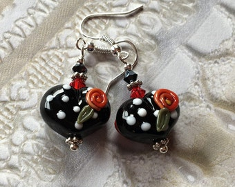 Heart Lampwork Earrings, Black and White Polka Dot Earrings, Lampwork Jewelry,  Mothers Day Gift, Gift For Her, SRA Lampwork Jewelry