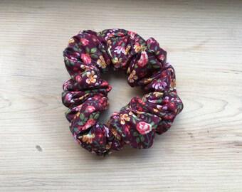 Burgundy Floral Scrunchie