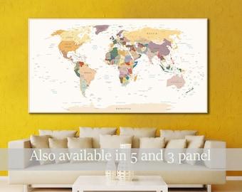 Push Pin World Map Canvas Print World Map Wall Art World Map Print World Map Poster Wall Art Set Canvas World Map Wall Decor World Map Print