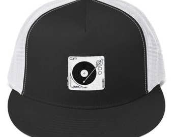 Turntable Hat - Record Player Embroidered Baseball Cap - Vinyl Records / DJ / Deejay Hat - Great Gift!