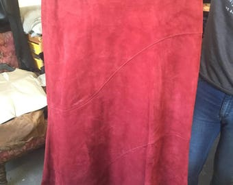 Size 12 red suede leather skirt