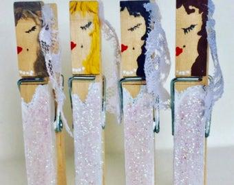 Bridal Shower Favors - Favors For Guests - Unique Bridal Shower Favor - Bridal Decor - Clothespins Wedding Decor -Bridal Shower Decorations