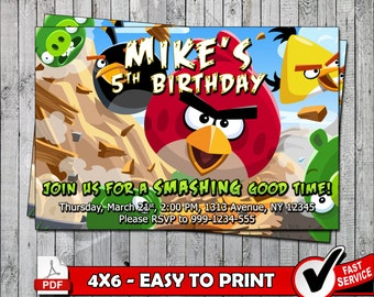 Angry Birds Printable Invitation Card - Digital files only