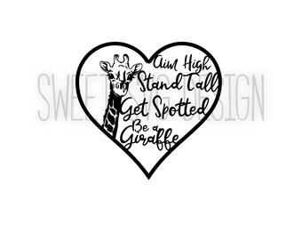 Be a Giraffe Heart SVG Cutting File or Clip Art for Silhouette, Cricut, Vinyl, HTV, giraffe svg, heart svg, digital, giraffe, commercial use