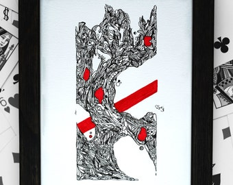 Original Pen and Ink Abstract Drawing Art Red Illustration