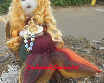 "Mermaid ""Marigold"" Waldorf Inspired Needle Felted 100% Merino Wool"