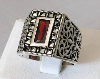Handmade 925 Sterling Silver Red Zircon Stone FASHION Men's RING #C81