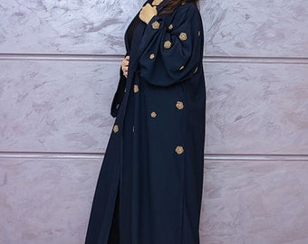 navy blue abaya with gold details