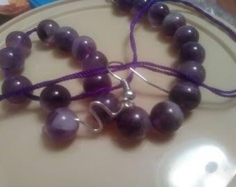 Handmade amythest bead earring set