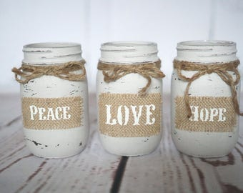 Three Hand Painted Mason Jars, Burlap Stenciled Sayings, Rustic, Country, Distressed, Wedding Centerpieces, Baby Shower Vases, Home Decor
