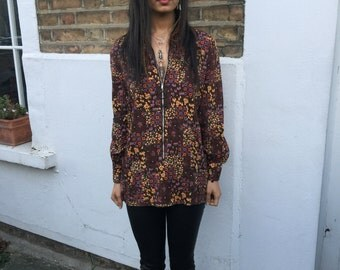 60s 70s vintage brown floral tunic shirt with poet sleeve