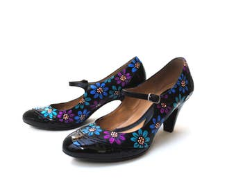 Flower Power Hand Painted Upcycled Women's Leather Mary Jane Shoes