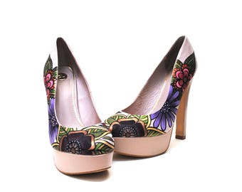 Flora Hand Painted Upcycled Women's Leather and Faux Suede Platform Shoes