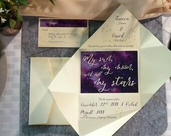 Wedding invitation | Galaxy invitations | Custom invitations | Unique invitations | Star invitations | Custom invites | Yorokobi fold