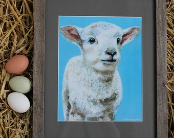 8x10 Framed Print of Original Acrylic Lamb Painting- White Mat and Faux Barn Wood Frame included