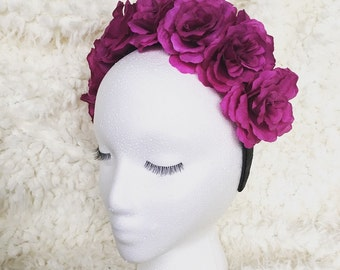 Purple Roses Headband, Coachella, Roses Flower Crown, Small Roses/Flowers, Lana Del Rey, Frida Kahlo Inspired