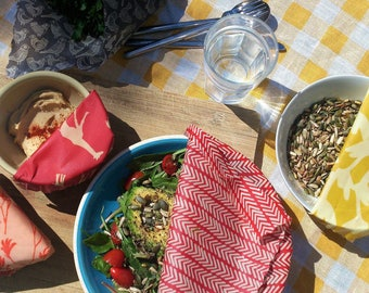 THE LUNCH PACK - 3 BeeBee Wraps Sml, Med, Lge - Beeswax Cotton Food Wraps - Reusable - Organic - Biodegradable - Sustainable - Eco Friendly