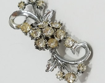 Beautiful Floral Rhinestone Brooch with Silver Tone Metal and Champagne/Clear Colored Rhinestones