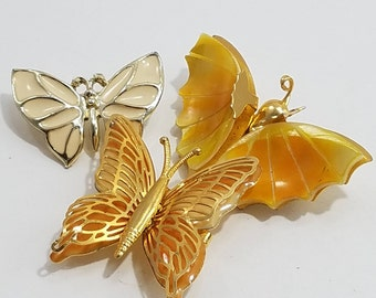 Beautiful Trio of Petite Butterfly Brooches