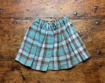 Multicheck Skirt, pure linen
