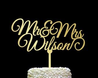Surname Cake Topper, Custom Wedding Cake Topper, Personalized Cake Toppers, Mr and Mrs Cake Topper Gold, Gold Cake Topper, Rustic, CT#070