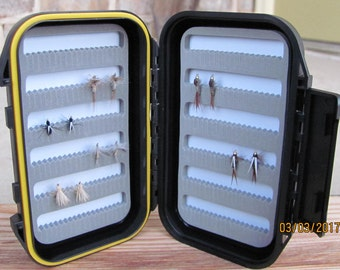 Fly Box with one dozen hand tied flies, fly fishing gifts, trout flies