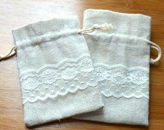100 Linen and Lace Favor Pouches/DIY Linen Wedding Favor Bags/Rustic Wedding Favor Gift Bags/Linen and Lace Gift Bags/DIY Linen Sachets Bags