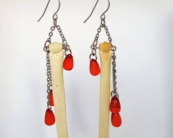 Real Wolf Foot Bone Earrings with Red Beads (Ethically sourced) Jewellery Jewelry