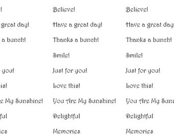 Scrapbook sentiments. English, Spanish