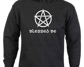 Blessed Be with a Pentagram Design Black Hoodie in Sizes S - XXL