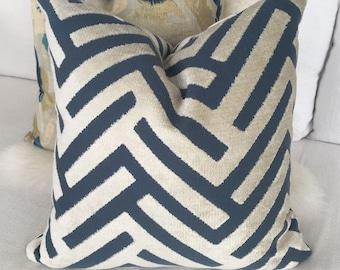 Ivory & Indigo Blue Throw Pillow in Cut Velvet Geometric Pattern