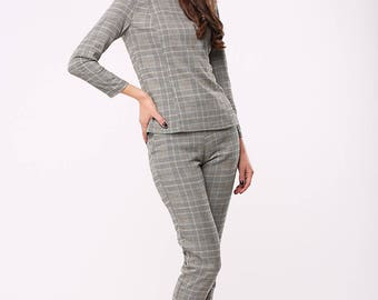 Soft grey wool office set in plaids | Grey wool tuxedo in plaids