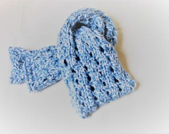 Hand knit scarf, Winter scarf, Wooly scarf, chunky scarf, neck warmer, Gift for mom, gift for women,Blue scarf, Hand knitted item
