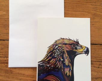 Golden Eagle - Blank Greetings Card - A6 - from original artwork by Tom Donaldson - 350gsm card, Glossy Finish