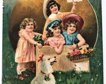 ORIGINAL ANTIQUE 1900's embossed Valentine greetings postcard rare used - kids girls boys poodle dog cherry blossom love ephemera victorian