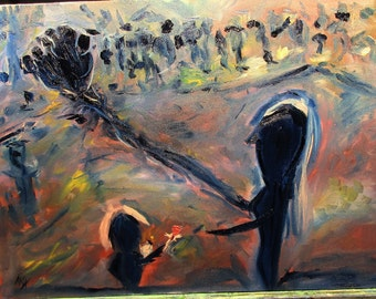 Child, gives a flower. 24x18 (art,original,painting,oil,abstract,story,people,anxiety,fear,comfort,child,mom,maxwellbrown,custom)