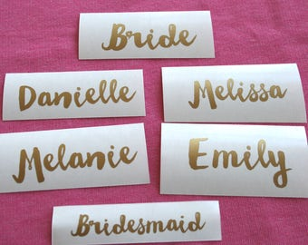 Custom name decal, Glass, DIY Decal, Personalized, Custom Yeti Decal, Bridesmaid Gift, Gold Name Decal, Wedding Sticker, Bachelorette party