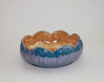Vintage SEIEI & CO Blue and Peach Luster Lotus Bowl