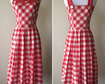 1950s Reversible Red and White Dress