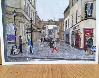Georgian city of Bath, signed giclee print 10x15 inch