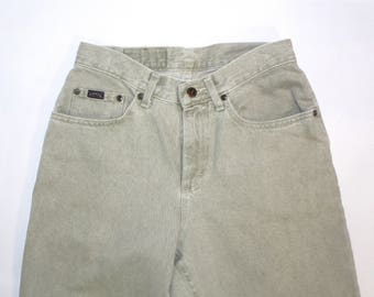 SALE* Vintage Women's Clothing • High Waisted •Pale Green  • Faded Denim Jeans •Riders by Lee