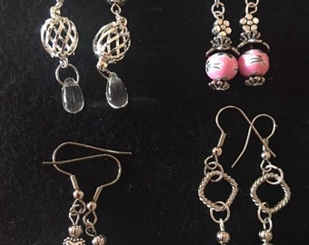 silver wire dangle beaded and chain earrings