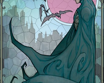 Batman (tableau unique style vitrail Art-Nouveau)